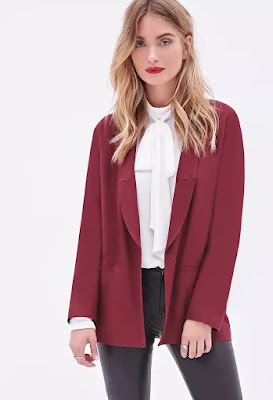 contemporary open-front boyfriend blazer from Forever 21