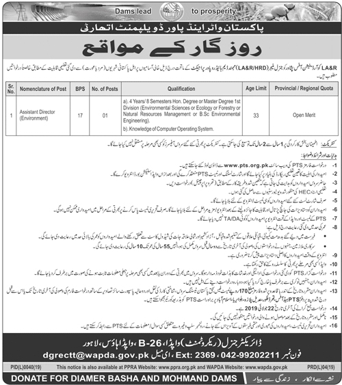 Jobs In Water And Power Development Authority WAPDA 07 July 2019