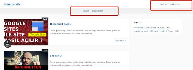 wordpres menu location