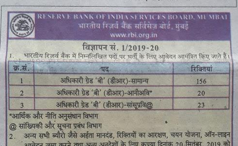 RBI Grade B Recruitment Notification