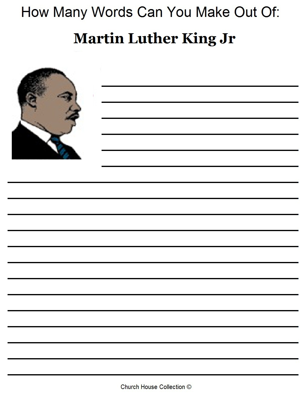 Free Martin Luther King Jr Worksheets How Many Words Can You Make Out Of Printable Version