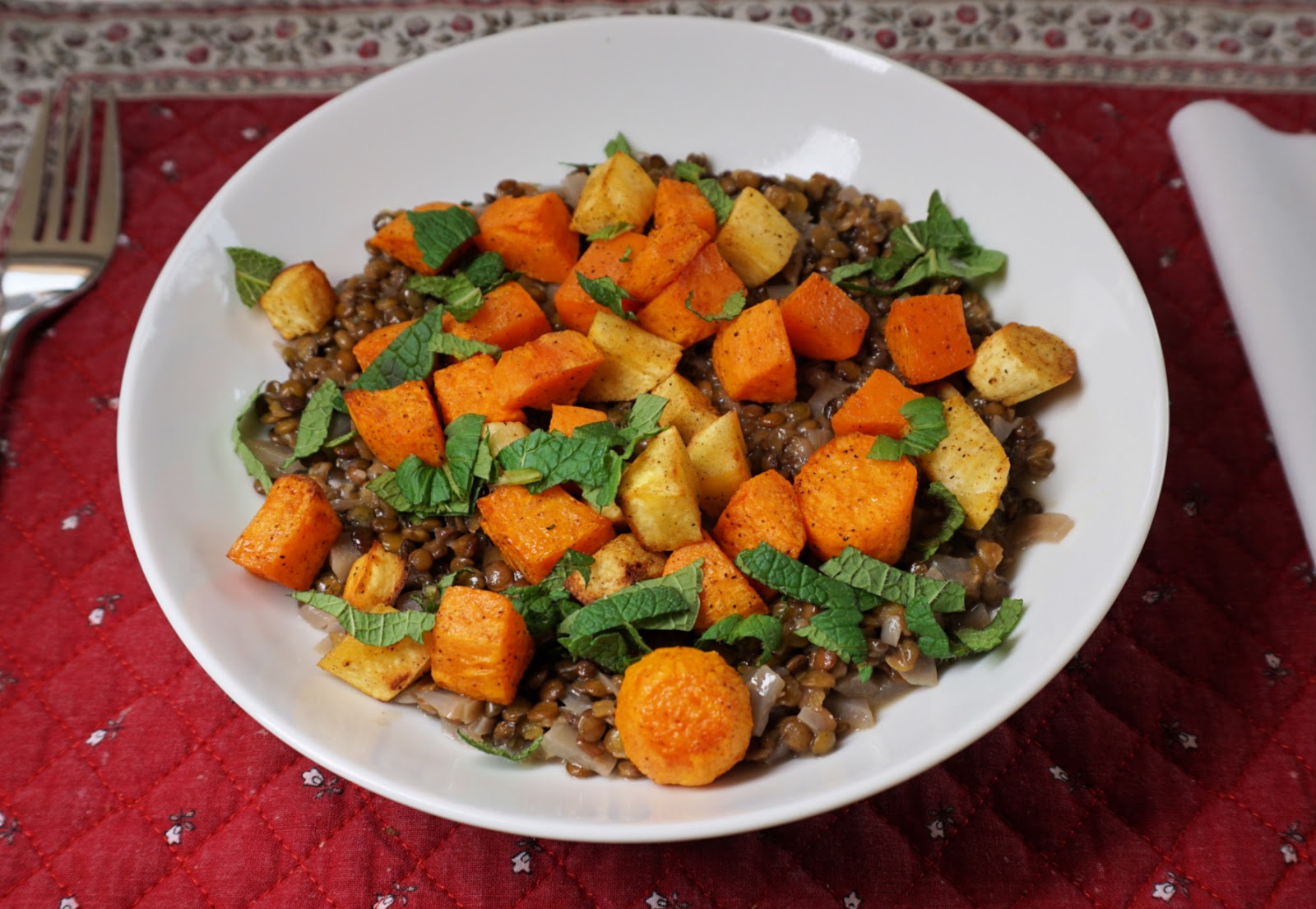 Green lentil risotto with roasted root vegetables