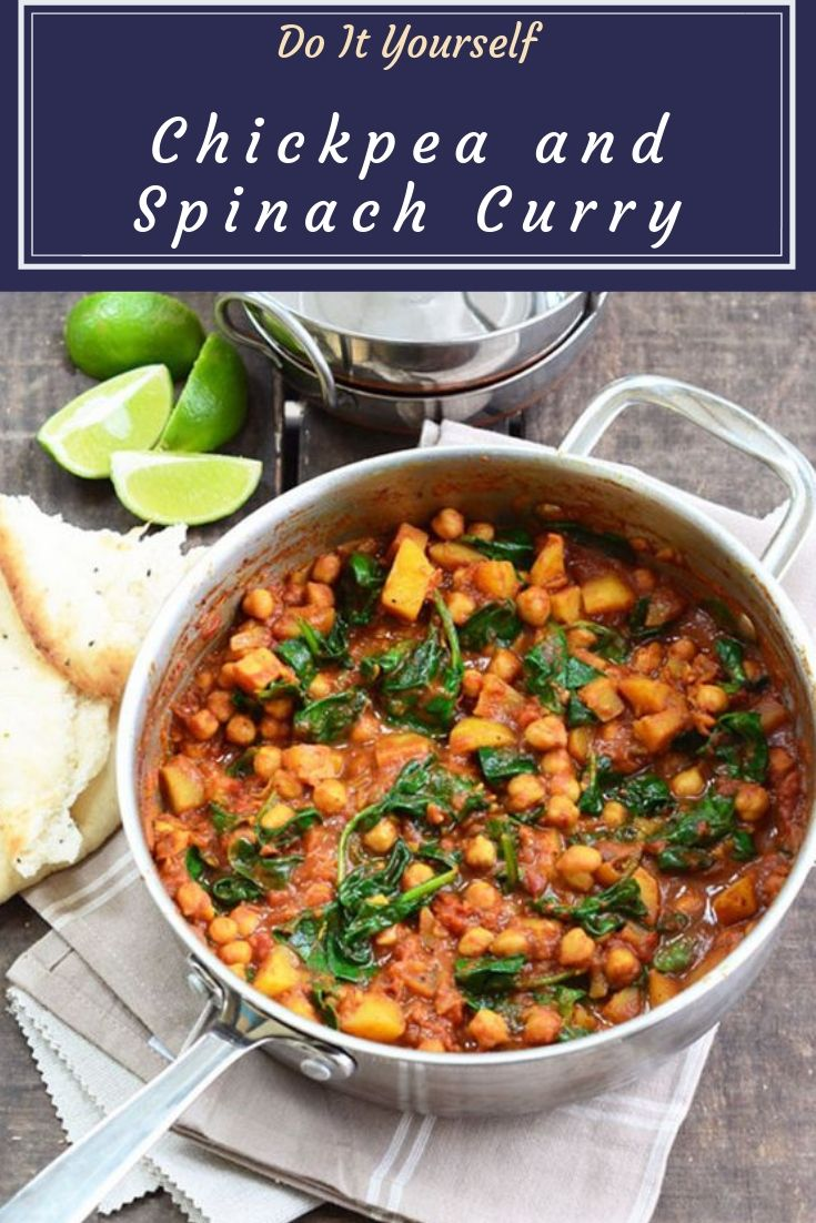 Chickpea and Spinach Curry - This chickpea and spinach curry is so easy and delicious and is quick to make too.