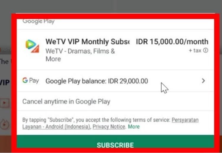 cara membeli VIP WeTV pakai pulsa