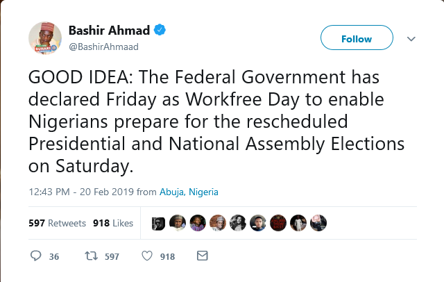 Nigeria Decides 2019: Federal Government Declares Friday As Public Holiday