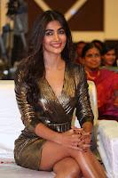 Pooja Hegde looks glamarous in deep neck sleevless short tight golden gown at Duvvada Jagannadham thank you meet function 140.JPG