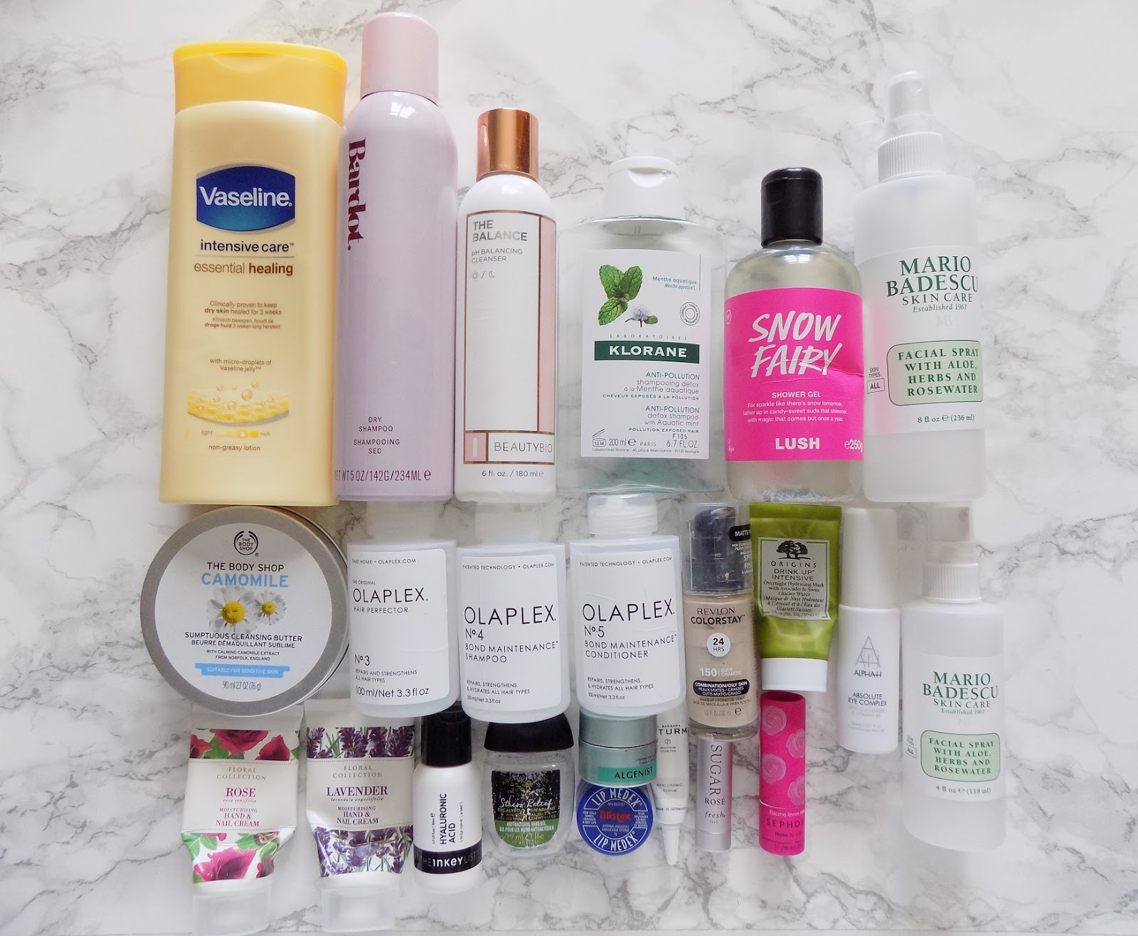 product empties reviews Bardot vaseline BeautyBio olaplex