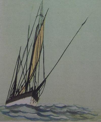Dibujo de un barco velero en el mar
