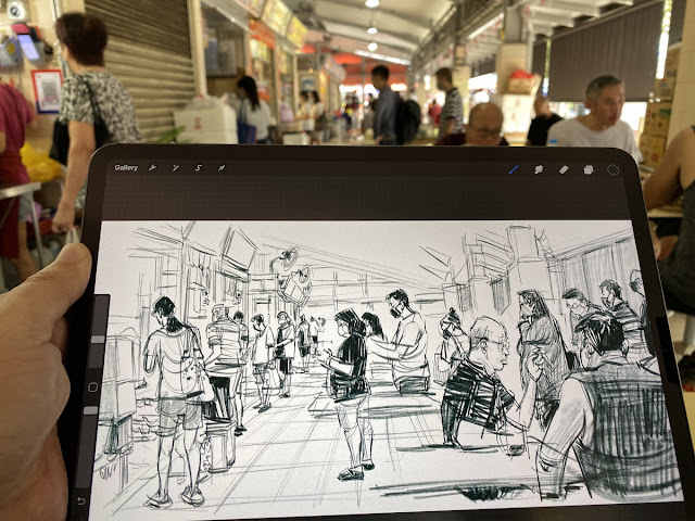 Sketching people at the food center