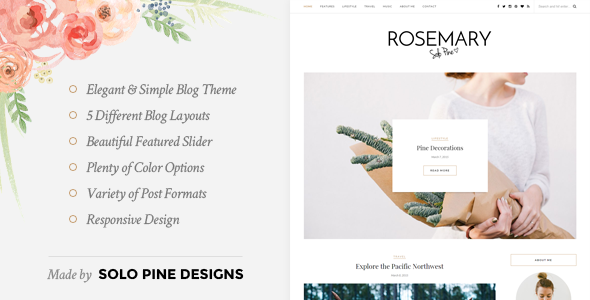 Rosemary A Responsive WordPress Blog Theme Free Download Nulled