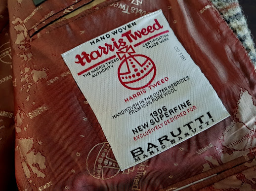 Harris Tweed label patch woven for Barutti