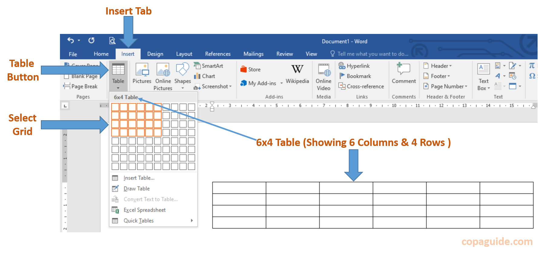 Microsoft Word - Using Graphic Grid to Insert Table Hindi Notes