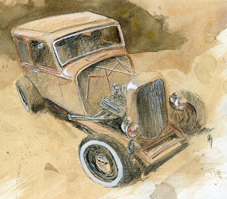 hot rod sketch watercolor colored pencil ford tudor sedan