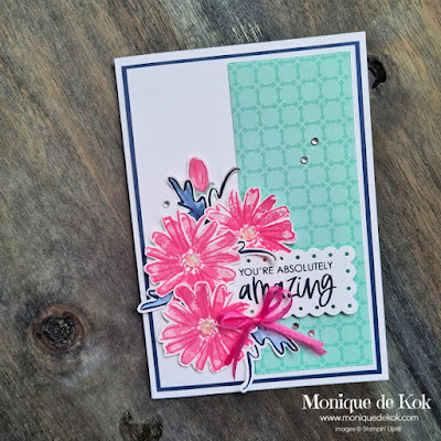 You are absolutely amazing kaart, zelfgemaakt, kaart, kleurencombinatie, roze, donker blauw, aqua, producten bestellen, kaart sturen, maken, werkbeschrijving