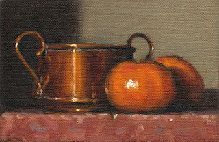 Still life oil painting of a small copper pot beside two mandarines.