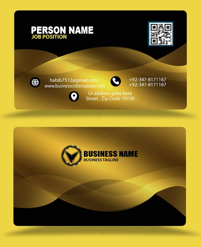 Golden black color business card design eps psd free download