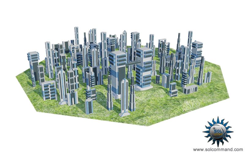 Low poly futuristic towers 3d model free download buildings city space ground planetary structures original solcommand concept