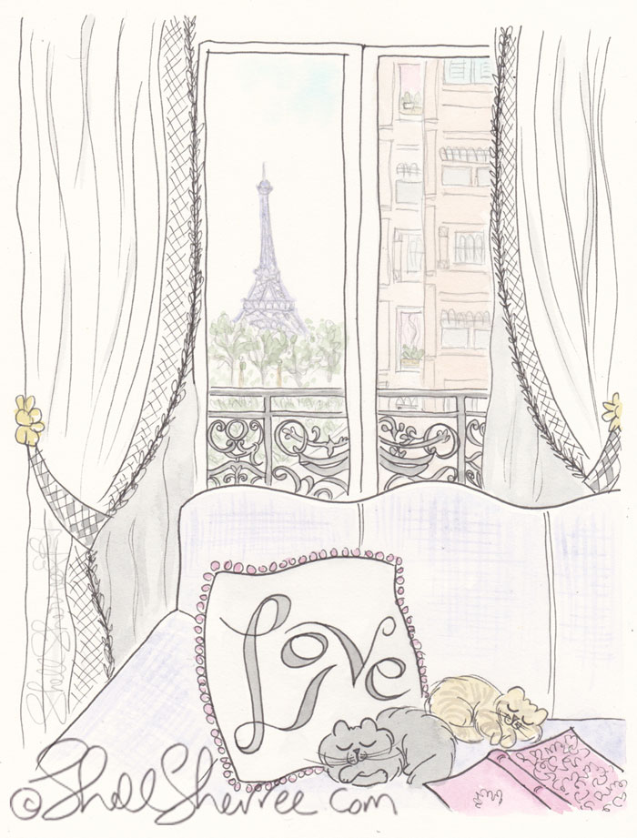 Paris Illustration: Paris, Love and Napping Kitties © Shell Sherree