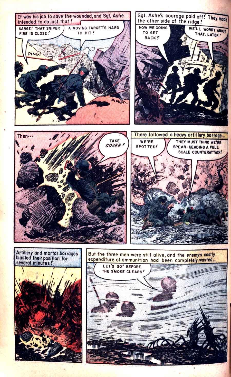 Heroic Comics #86 golden age 1950s war comic book page art by Frank Frazetta