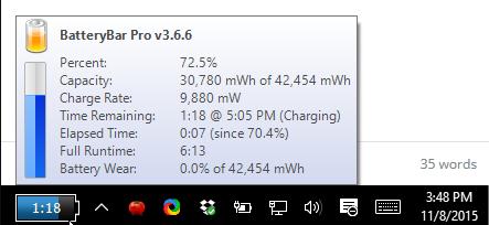 tampilan aplikasi batteraybar