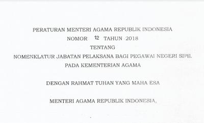 Nomenklatur Jabatan Pelaksana PNS Kemenag 2018