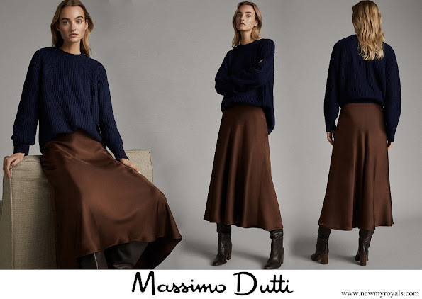 Meghan Markle wore Massimo Dutti brown satin midi skirt