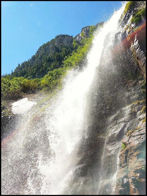 The lower of the Timpanogos Waterfalls
