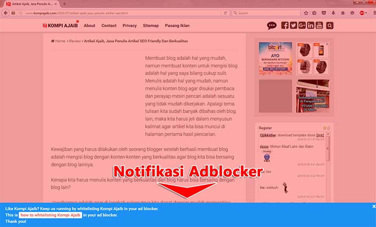 Membuat Notifikasi Untuk Pengguna Adblocker Adsense