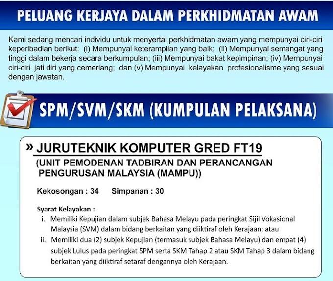 Jawatan Kosong Terkini di Unit Pemodenan Tadbiran Dan Perancangan Pengurusan Malaysia (MAMPU).