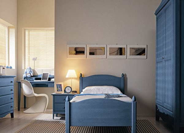 habitación juvenil en celeste y blanco