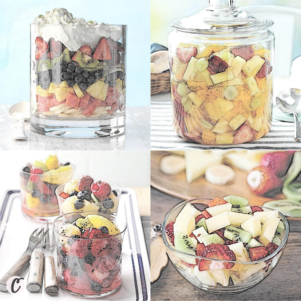Left to Right: Rainbow Fruit Salad, Sparkling Fruit Salad, Tangy Poppy Seed Fruit Salad, Vintage Fruit Cocktail