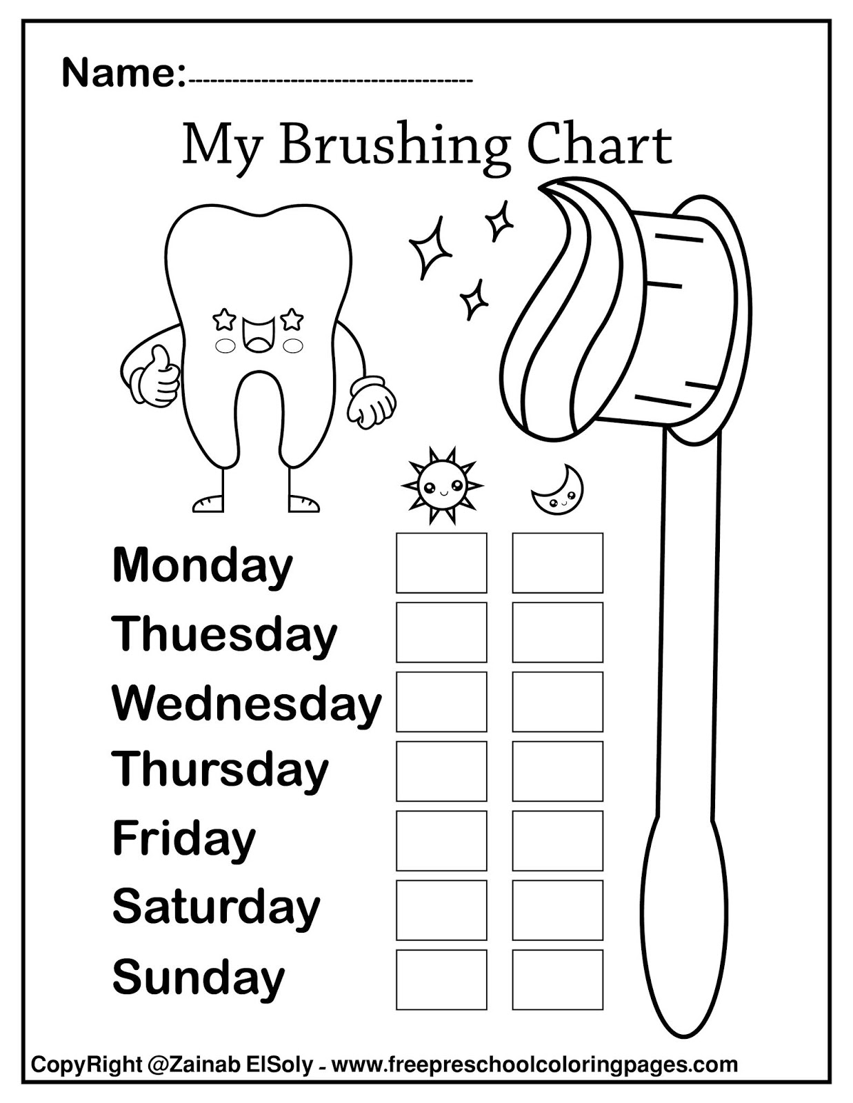 Set Of Free Dental Care Coloring Pages For Kids