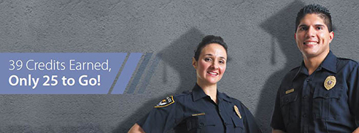 Rio Salado web page banner for LET Program.  Image of two officers smiling at camera.  Behind them a shadow of cap can gown. Text: 39 credits earned.  Only 25 to Go!