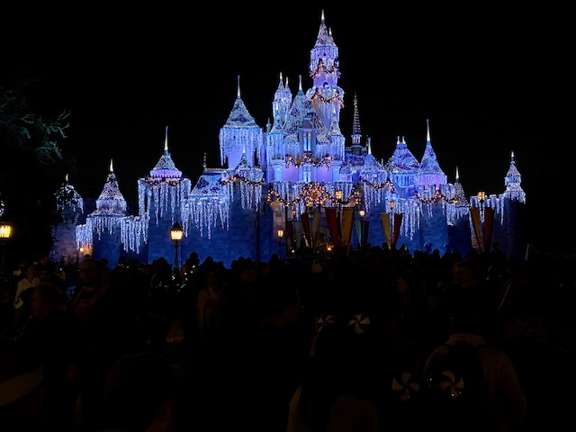 Sleeping Beauty Castle at Christmas time