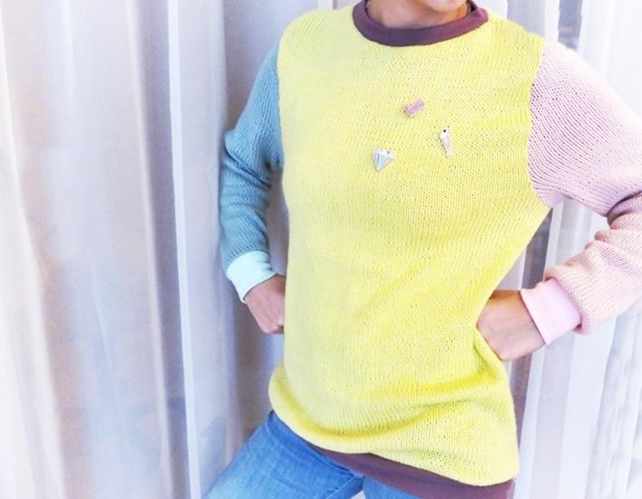 Tragefoto Strickpullover pastellfarben