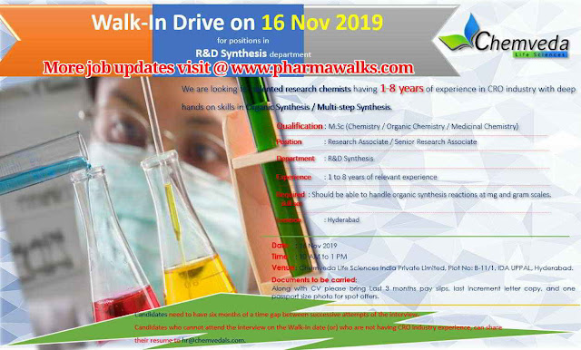 Chemveda Life Sciences - Walk-in interview for R&D Synthesis on 16th November, 2019