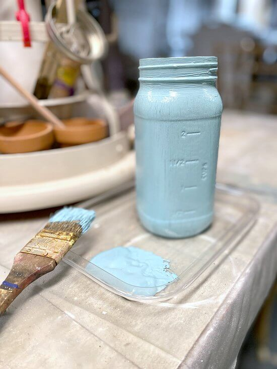 Painted Blue Mason Jar Vase with a Transfer Design