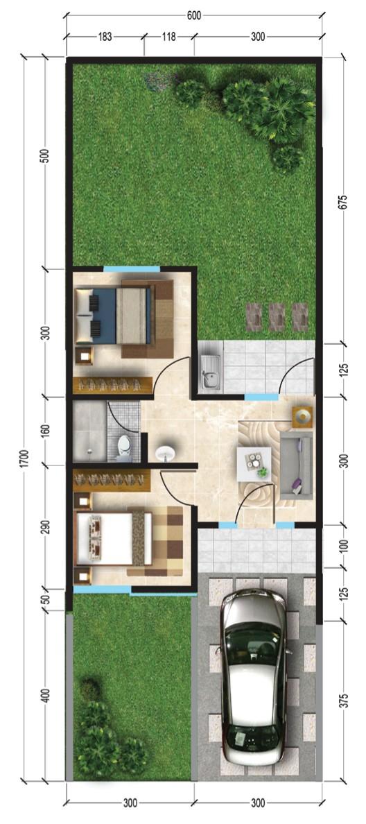 Denah rumah minimalis ukuran 6x17 meter 2 kamar tidur 1 lantai