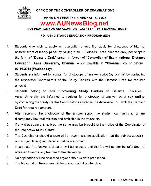 Anna University Distance Education Revaluation procedure & Exam Centre Details