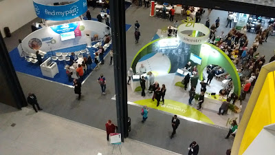 Looking down on FindMyPast and Ancestry stands at RootsTech