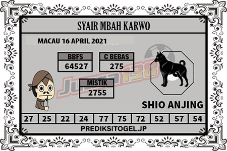 Syair Mbah Karwo Togel Macau Jumat 16 April 2021