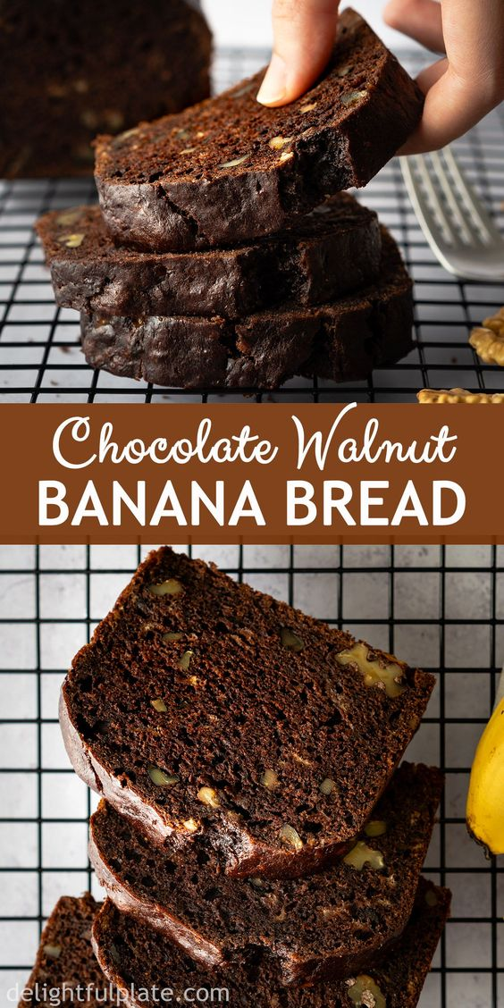 This easy Chocolate Banana Bread is so delicious and tender with a chocolatey and nutty flavor and wonderful aroma. Either as breakfast, dessert or mid-day snack, it will make you feel cozy and heartwarming. #chocolate #walnut #bananabread #quickbread