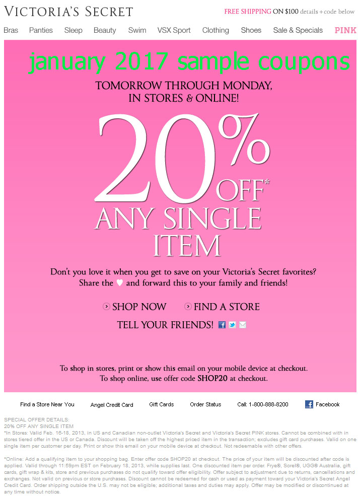 Find victoria secret coupons