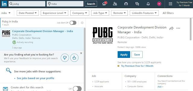 pubg job listing on linkedin