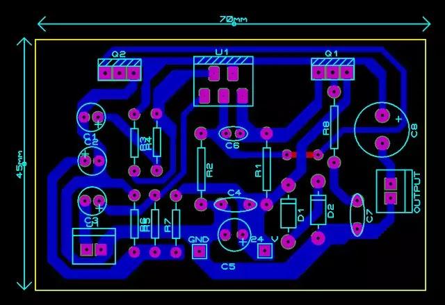 tda2030 with transistor Circuit pcb top