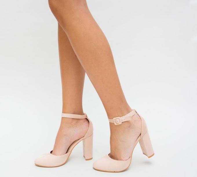 Pantofi eleganti roz cu toc gros cu decupaj ieftini de ocazii