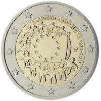 Kreikka 2 euro eu lippu 30 vuotta erikoiseuro 2015