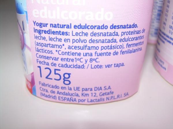 Yogur desnatado edulcorado dia