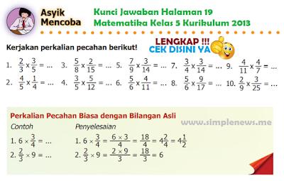 Kunci Jawaban Halaman 19 Matematika Kelas 5 Kurikulum 2013 www.simplenews.me