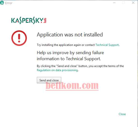 Kaspersky tidak bisa di install - Appliaction was not installed